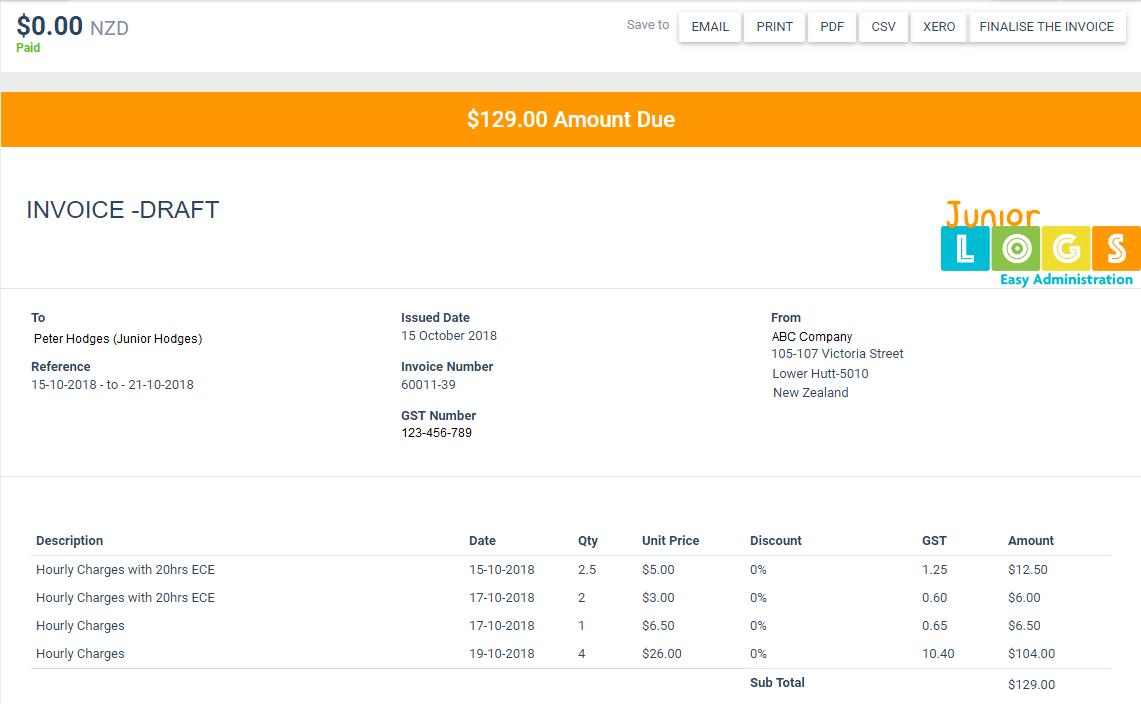 Juniorlogs Invoicing System